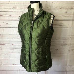 Jane Ashley Women's Quilted Emerald Green Zip Vest